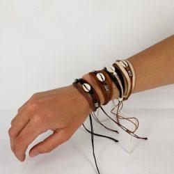 Armbandje Leer/schelp