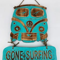 VW Bus Tekstbord Aqua | Gone Surfing