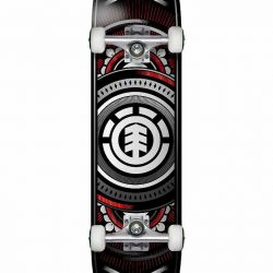 "Element Hatched 7.5"" Red/silver Complete Skateboard"